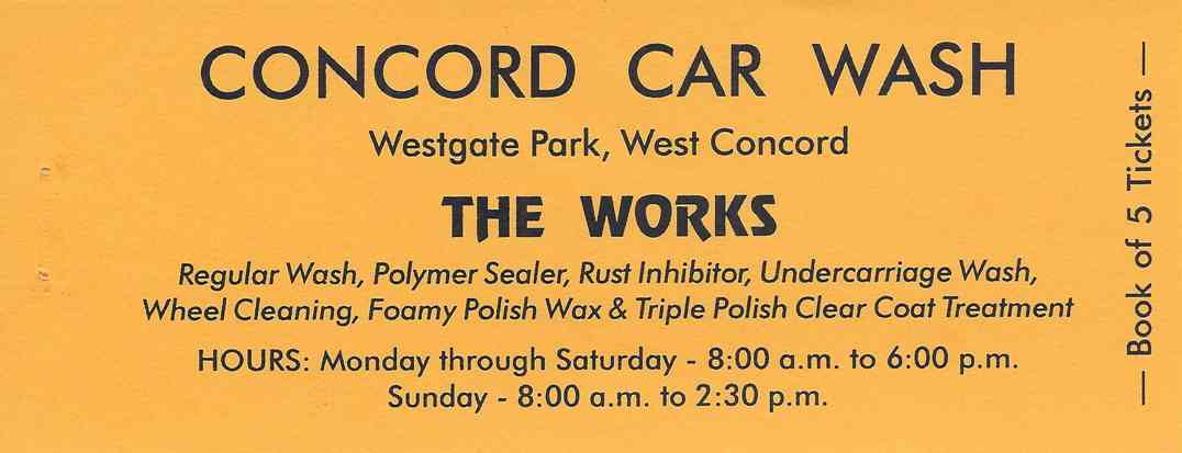 CONCORD CAR WASH, Discount Books, The Works