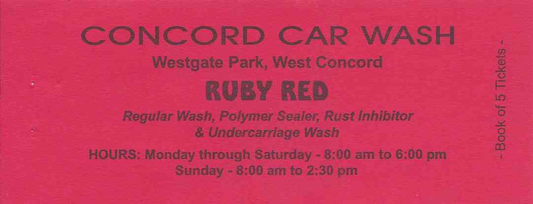 CONCORD CAR WASH, Discount Books, Ruby Red