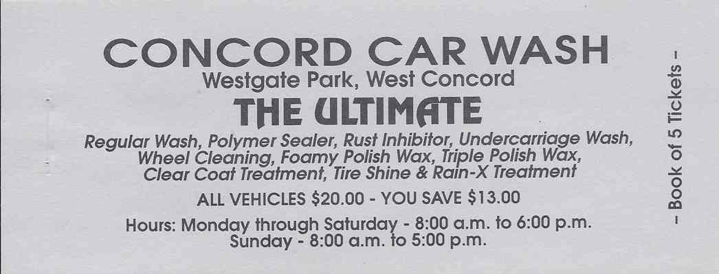 CONCORD CAR WASH, Discount Books, The Ultimate